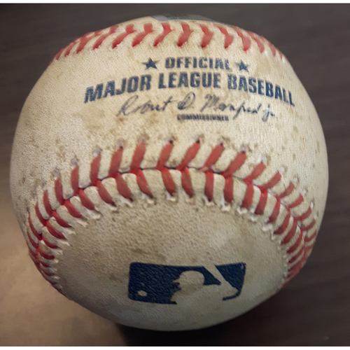 Photo of Authenticated Game Used Baseball - Single by #8 Kendrys Morales vs. Michael Pineda. Bottom of the 3rd inning. (June 2, 2017)