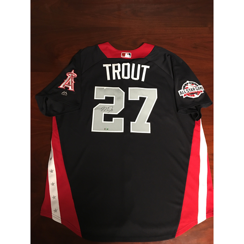 Photo of Mike Trout 2018 Major League Baseball Workout Day Autographed Jersey