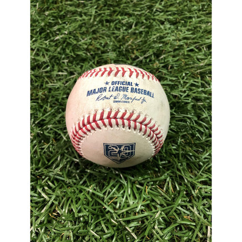 Photo of 20th Anniversary Game Used Baseball: Giancarlo Stanton 2RBI single and Aaron Hicks foul ball off Ryne Stanek - July 23, 2018 v NYY