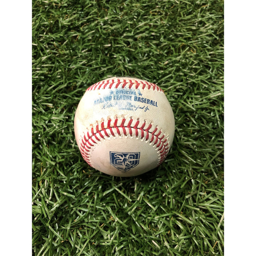 Photo of 20th Anniversary Game Used Baseball: Kole Calhoun strikeout, Justin Upton double and Albert Pujols foul ball off Hunter Wood - August 2, 2018 v LAA