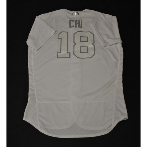 "Photo of Chad ""CHI"" Pinder Oakland Athletics Game-Used 2019 Players' Weekend Jersey"