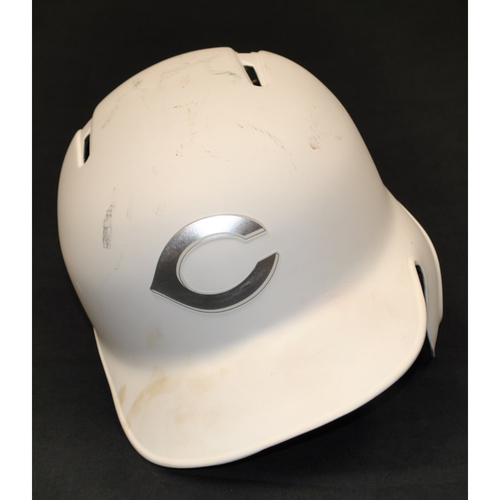 "Photo of Alex ""AWOOD"" Wood Cincinnati Reds Game-Used 2019 Players' Weekend Helmet"