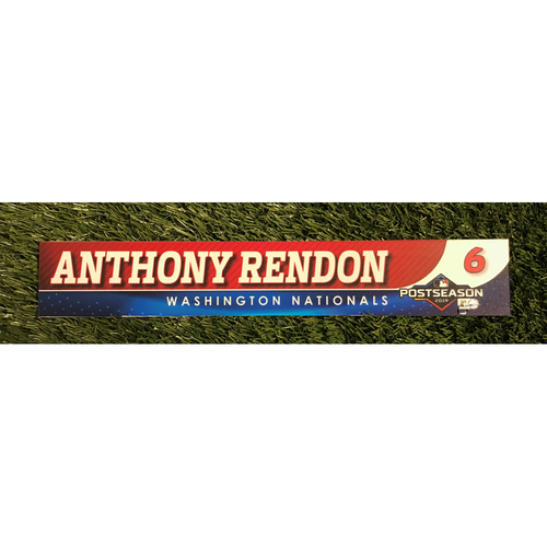 Photo of Game-Used Anthony Rendon 2019 Postseason Locker Tag