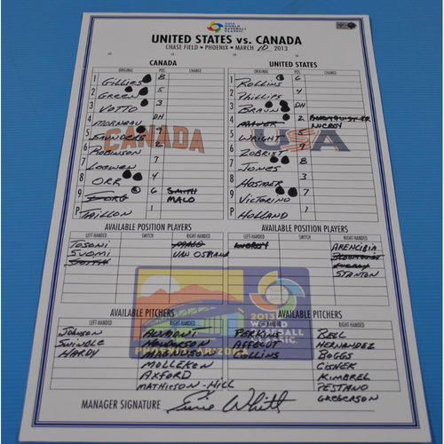 Photo of Game-Used Lineup Card - 2013 World Baseball Classic - USA vs. Canada - 3/10/2013 - Canada Dugout