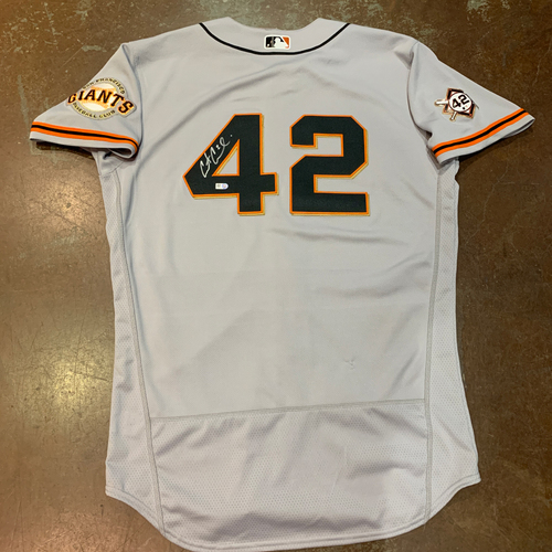 Photo of 2021 Autographed Game Used Jackie Robinson 42 Day Road Jersey worn by #2 (42) Curt Casali on 4/16 @ MIA - Size 44