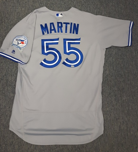 Authenticated Game Used Jersey - #55 Russell Martin (September 19, 2016). Martin went 0-for-3 with 1 walk and 1 strikeout. Caught Estrada who started game with 6 No Hit Innings. Size 46