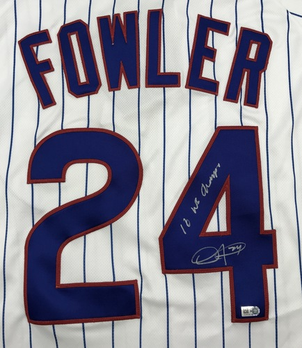 "Photo of Dexter Fowler ""16 WS Champs"" Autographed White Cubs Jersey"