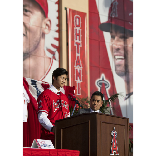 Photo of Shohei Ohtani Team-Issued Signing Ceremony Banner
