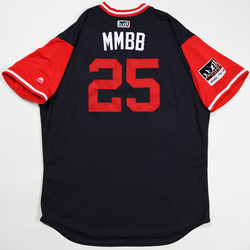 "Photo of Tyler ""MMBB"" Flowers Atlanta Braves Game-Used Jersey 2018 Players' Weekend Jersey"