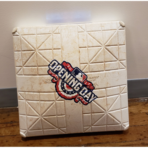 Photo of Game-Used Opening Day Base: Boston Red Sox at Detroit Tigers - 2nd Base Used in Innings 8-9 - 4/7/17