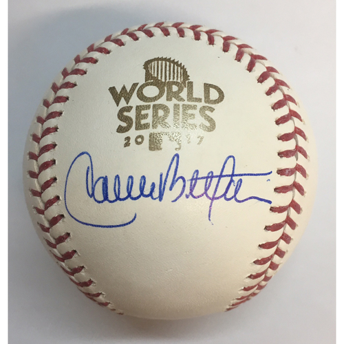 Photo of Carlos Beltran Autographed 2017 World Series Logo Baseball