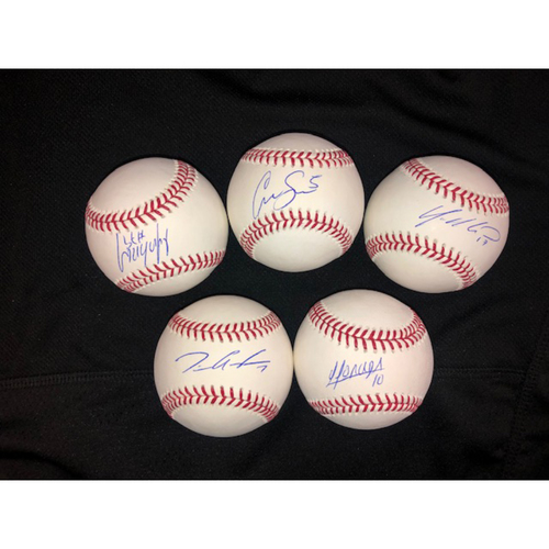 Photo of Jose Abreu, Yolmer Sanchez, Tim Anderson, Yoan Moncada and Yonder Alonso Autographed Baseballs
