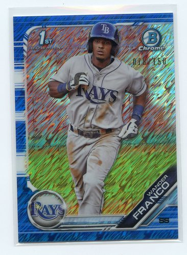 Photo of 2019 Bowman Chrome Prospects Blue Shimmer Refractors #BCP100 Wander Franco 078/150