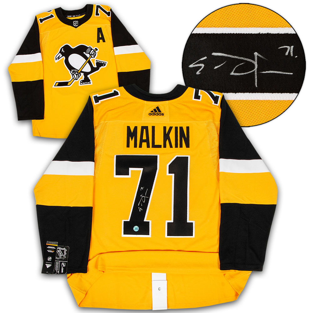 Evgeni Malkin Pittsburgh Penguins Signed Yellow Adidas Authentic Hockey Jersey