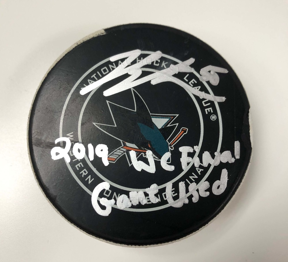 Jordan Binnington St. Louis Blues Autographed 2019 Western Conference Game 5 Game-Used Puck vs. San Jose Sharks with