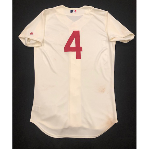 Photo of Jose Iglesias -- Game-Used 1936 Throwback Jersey (Starting SS) -- Cubs vs. Reds on June 30, 2019 -- Jersey Size 42