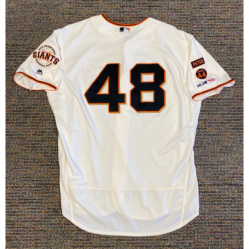 Photo of 2019 Game Used Home Cream Jersey worn by #48 Pablo Sandoval on 8/6 vs WSH - 2-3, RBI, R, 2 2B & 8/13 vs OAK - Size 54