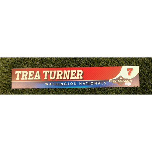 Photo of Game-Used Trea Turner 2019 Postseason Locker Tag