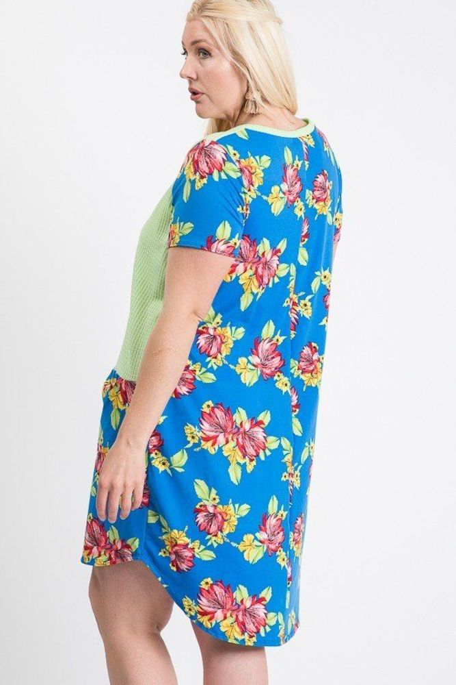 Photo of Serenity Short Sleeve Floral Blocked Midi Dress With Front Pocket