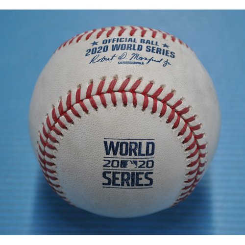Photo of Game-Used Baseball - 2020 World Series - Los Angeles Dodgers vs. Tampa Bay Rays - Game 3 - Pitcher: Blake Treinen, Batters: Manuel Margot (Strikeout Swinging), Joey Wendle (Foul) - Bot 7