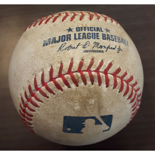 Photo of Authenticated Game Used Baseball - Single by #55 Russell Martin vs. Chase Whitley. Bottom of the 6th inning. (June 14, 2017). Also used for single by #15 Dwight Smith Jr.