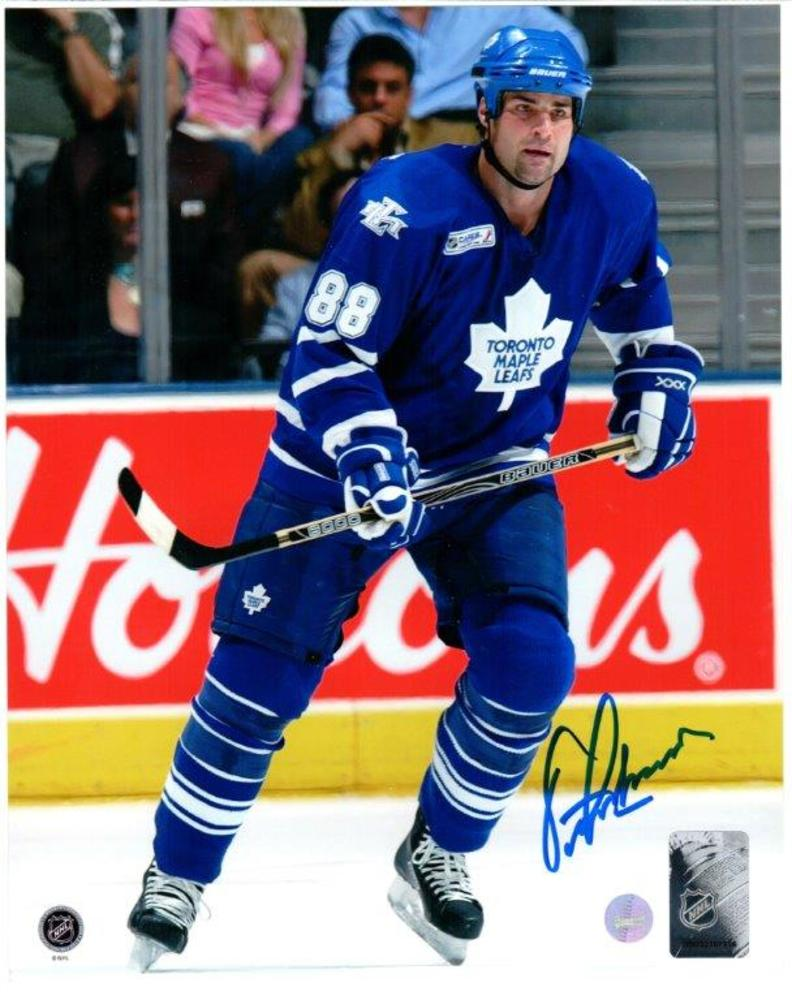 Eric Lindros Signed 8x10 Unframed Leafs Blue-V Action