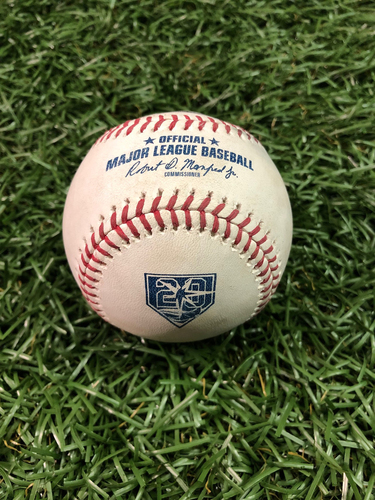 Photo of 20th Anniversary Game Used Baseball: Chih-Wei Hu strikes out Luke Voit - September 25, 2018 v NYY