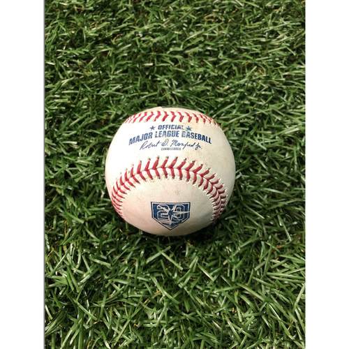 Photo of 20th Anniversary Game Used Baseball: Carlos Gomez 1400th Career Game - August 7, 2018 v BAL