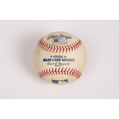 Photo of Game-Used Baseball: Pitcher Dylan Bundy, Batter: Mike Trout (Single) - Bot 3 - 7/28/19 vs. BAL