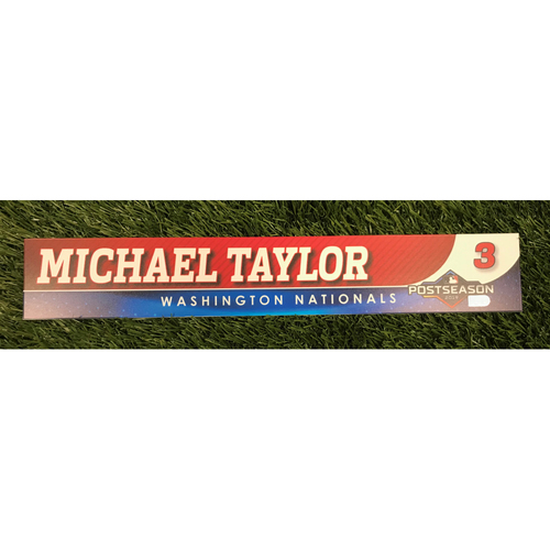 Photo of Game-Used Michael A. Taylor 2019 Postseason Locker Tag