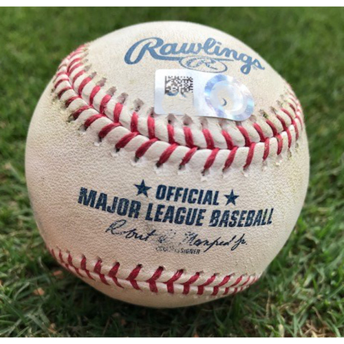 Photo of Game-Used Baseball 9/2/2017 - LAA vs. TEX - Jose Leclerc to Mike Trout - Pitches 1 and 2 - 1-1 Count