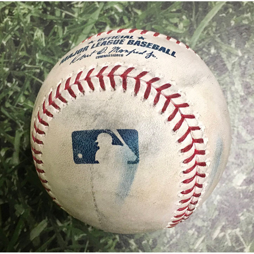 Photo of Game-Used Baseball SEA@MIL 06/26/19 - Freddy Peralta - Omar Narvaez: Strikeout