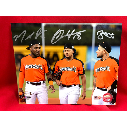 Photo of Yadier Molina, Carlos Martinez, and Marcell Ozuna Autographed 2017 All Star Game Photo