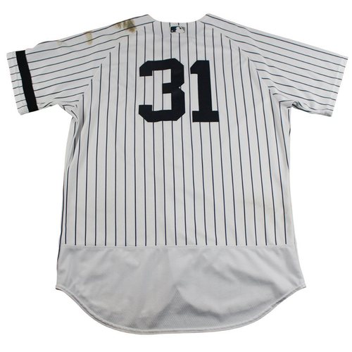 Photo of Aaron Hicks New York Yankees Game-Used #31 Pinstripe Jersey (10/1/2017) (Size 46)