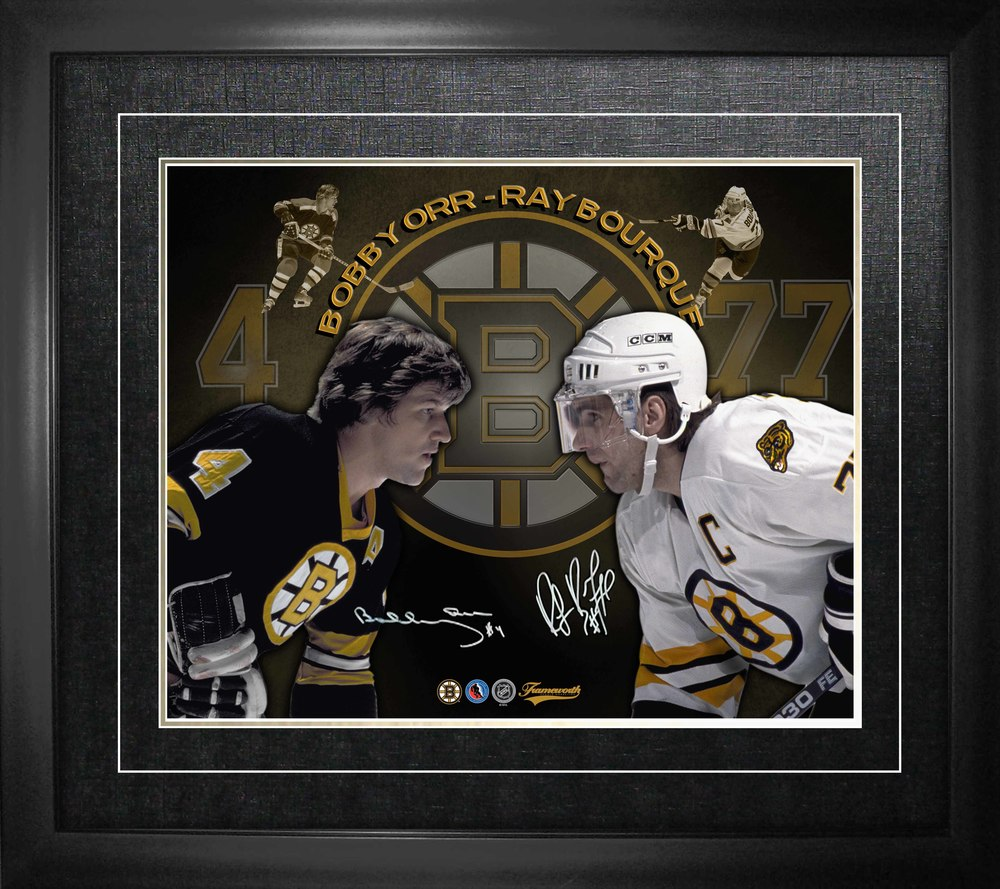 Bobby Orr & Ray Bourque Dual-Signed Framed 16x20 Collage-H
