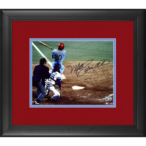 "Photo of Mike Schmidt Philadelphia Phillies Framed Autographed 8"" x 10"" 1980 World Series Home Run Photo"