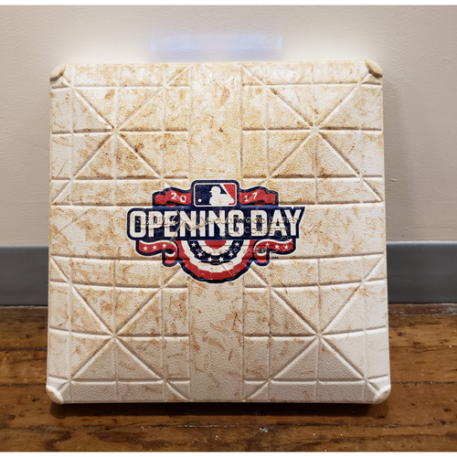 Photo of Game-Used Opening Day Base: Washington Nationals at Philadelphia Phillies - 1st Base Used in Innings 7-9 - 4/7/17