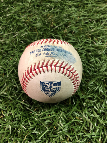 Photo of 20th Anniversary Game Used Baseball: J.D. Martinez single and Xander Bogaerts foul ball off Hunter Wood - August 24, 2018 v BOS