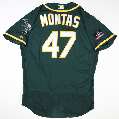 Photo of 2019 Japan Opening Day Series - Game Used Jersey - Frankie Montas, Oakland Athletics at Nippon Ham Fighters -3/17/2019