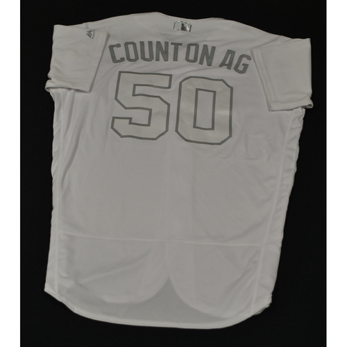 "Photo of Amir ""COUNT ON AG"" Garrett Cincinnati Reds Game-Used 2019 Players' Weekend Jersey"