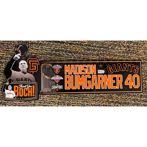 Photo of 2019 Game Used Thank You BOCH! Locker Tag - #40 Madison Bumgarner