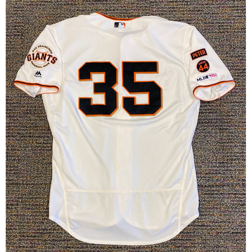 Photo of 2019 Game Used Home Cream Jersey worn by #35 Brandon Crawford on 9/15 vs MIA - 1-2, 2 BB & 9/29 vs LAD - 0-1 - Size 48