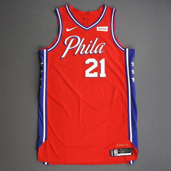 Image of Joel Embiid - Philadelphia 76ers - Game-Worn Statement Edition Jersey - Double-Double - 2019-20 Season