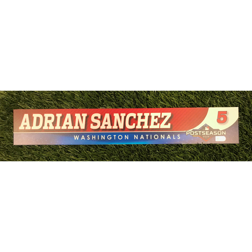 Photo of Game-Used Adrian Sanchez 2019 Postseason Locker Tag