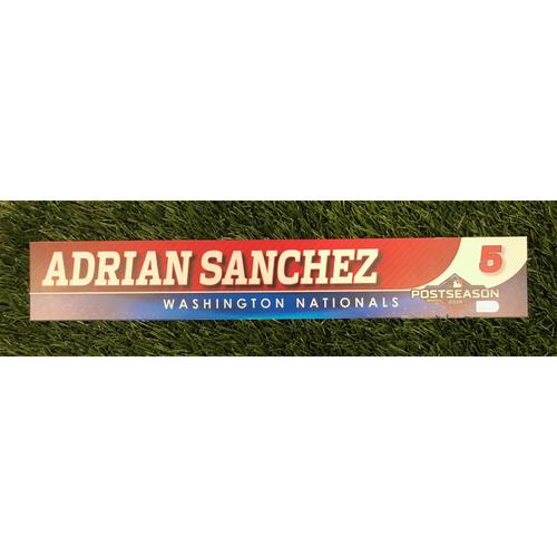 Photo of Game-Used Adrian Sanchez 2019 Postseason Locker Tag