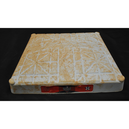 Photo of Game-Used Base - 2019 World Series - Washington Nationals vs. Houston Astros - World Series Game 2 - First Base - Used Innings 1-5 - 10/23/2019