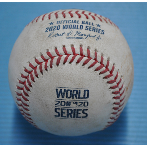Photo of Game-Used Baseball - 2020 World Series - Los Angeles Dodgers vs. Tampa Bay Rays - Game 3 - Pitcher: John Curtiss, Batter: Mookie Betts (Single to RF) - Top 6
