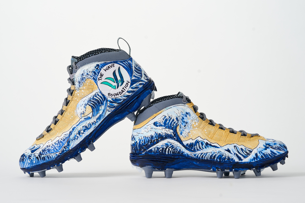 My Cause My Cleats - Seahawks Tyler Ott custom cleats - supporting WAVE Foundation