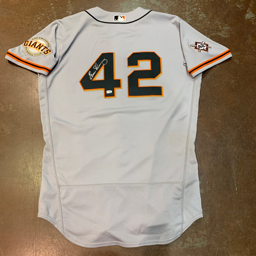 Photo of 2021 Autographed Game Used Jackie Robinson 42 Day Road Jersey worn by #10 (42) Evan Longoria on 4/16 @ MIA - Size 44