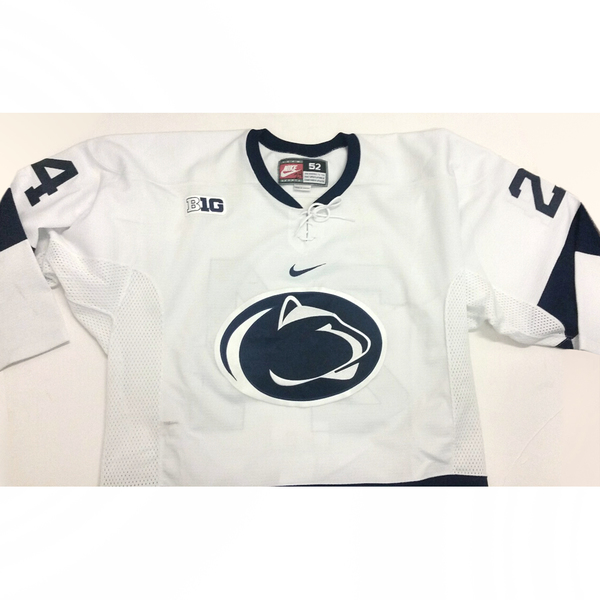 Photo of Penn State Game-Used Men's Ice Hockey Jersey (White #24, Size 52)